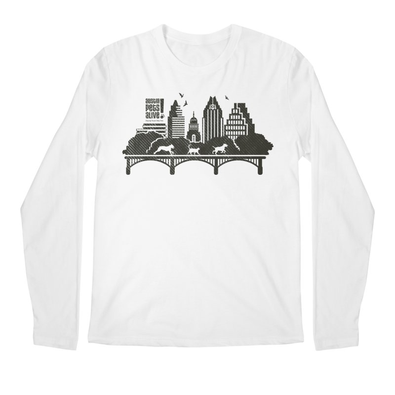 Pet Party on the Austin Skyline Men's Regular Longsleeve T-Shirt by Austin Pets Alive's Artist Shop
