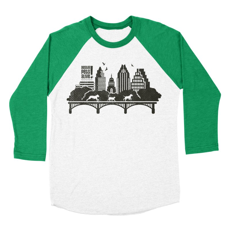 Pet Party on the Austin Skyline Women's Baseball Triblend Longsleeve T-Shirt by Austin Pets Alive's Artist Shop