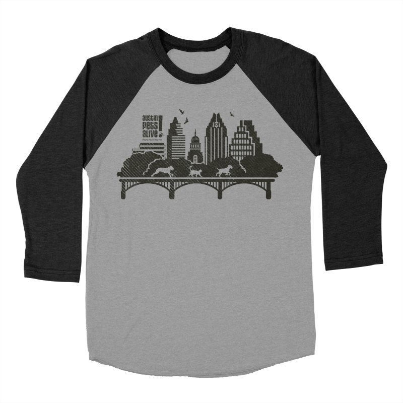 Pet Party on the Austin Skyline Men's Baseball Triblend Longsleeve T-Shirt by Austin Pets Alive's Artist Shop