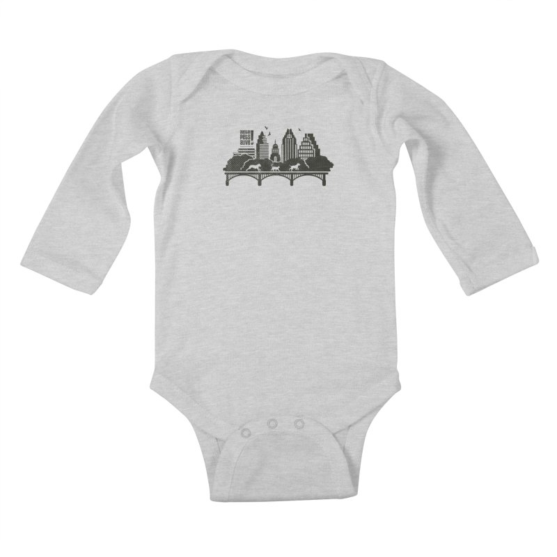 Pet Party on the Austin Skyline Kids Baby Longsleeve Bodysuit by Austin Pets Alive's Artist Shop