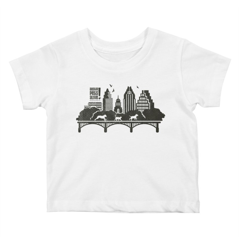 Pet Party on the Austin Skyline Kids Baby T-Shirt by austinpetsalive's Artist Shop