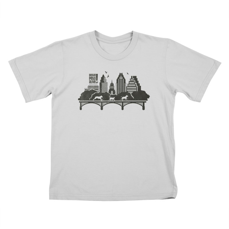 Pet Party on the Austin Skyline Kids T-Shirt by austinpetsalive's Artist Shop