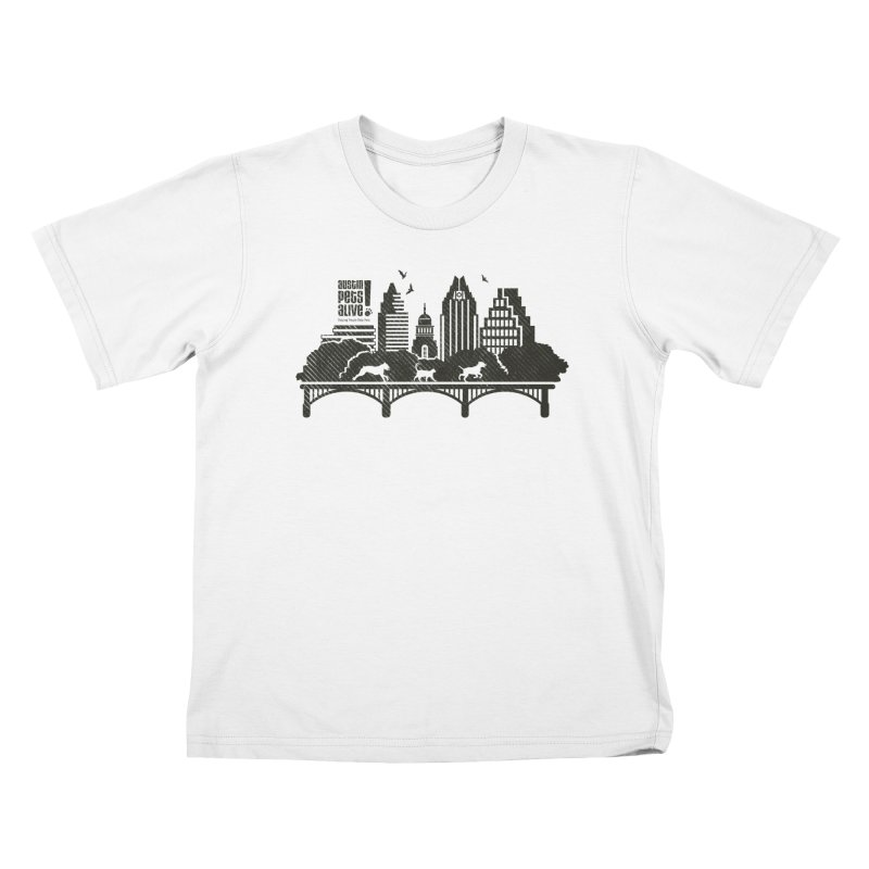Pet Party on the Austin Skyline Kids T-Shirt by Austin Pets Alive's Artist Shop