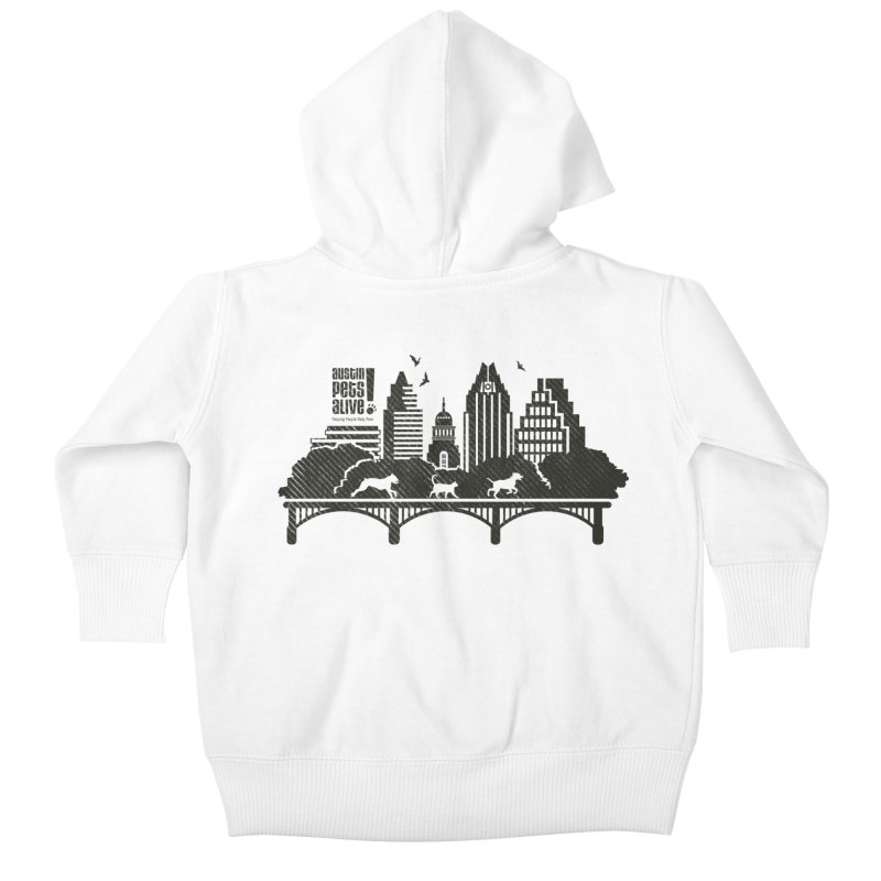 Pet Party on the Austin Skyline Kids Baby Zip-Up Hoody by Austin Pets Alive's Artist Shop