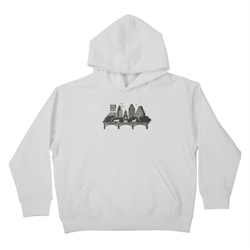 Pet Party on the Austin Skyline Kids Pullover Hoody by Austin Pets Alive's Artist Shop