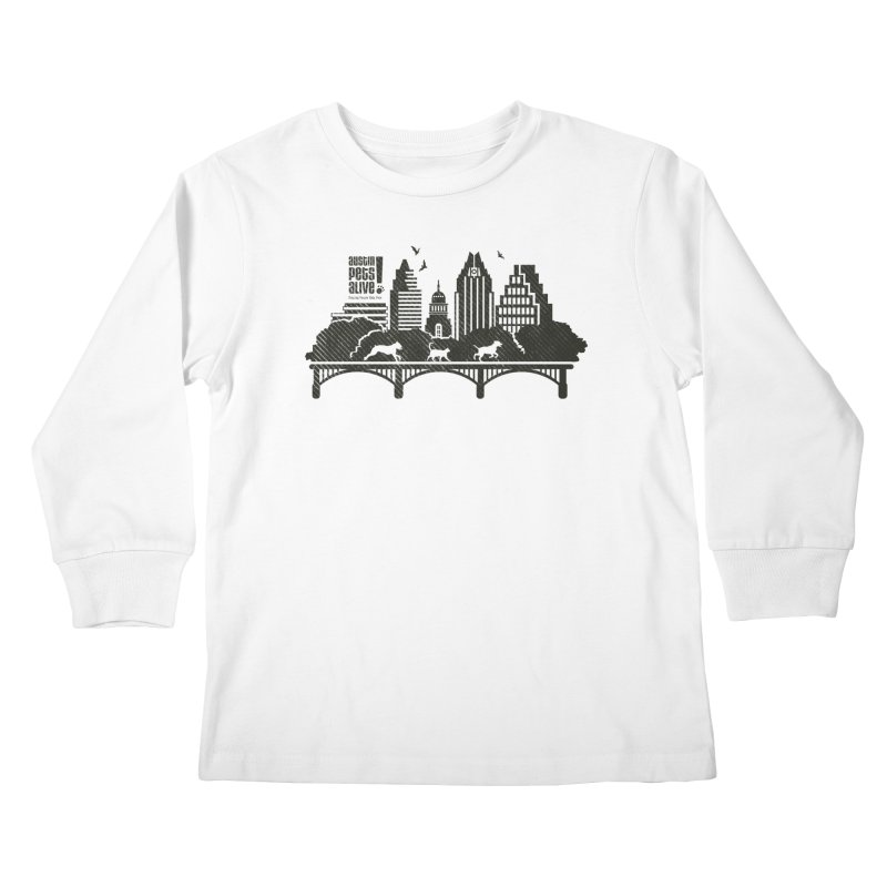 Pet Party on the Austin Skyline Kids Longsleeve T-Shirt by Austin Pets Alive's Artist Shop