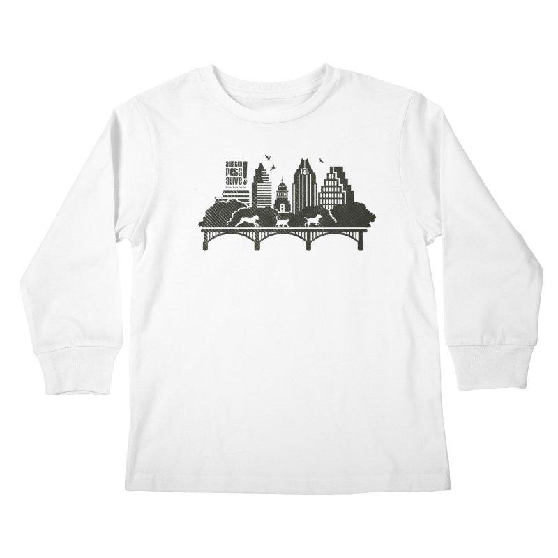 Pet Party on the Austin Skyline Kids Longsleeve T-Shirt by austinpetsalive's Artist Shop