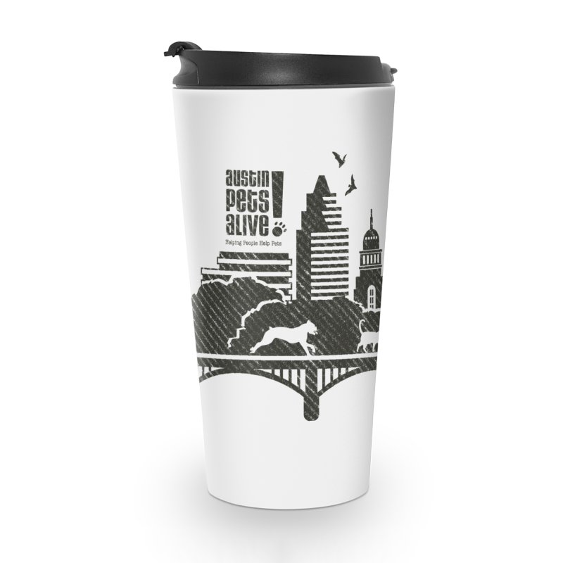 Pet Party on the Austin Skyline Accessories Travel Mug by Austin Pets Alive's Artist Shop