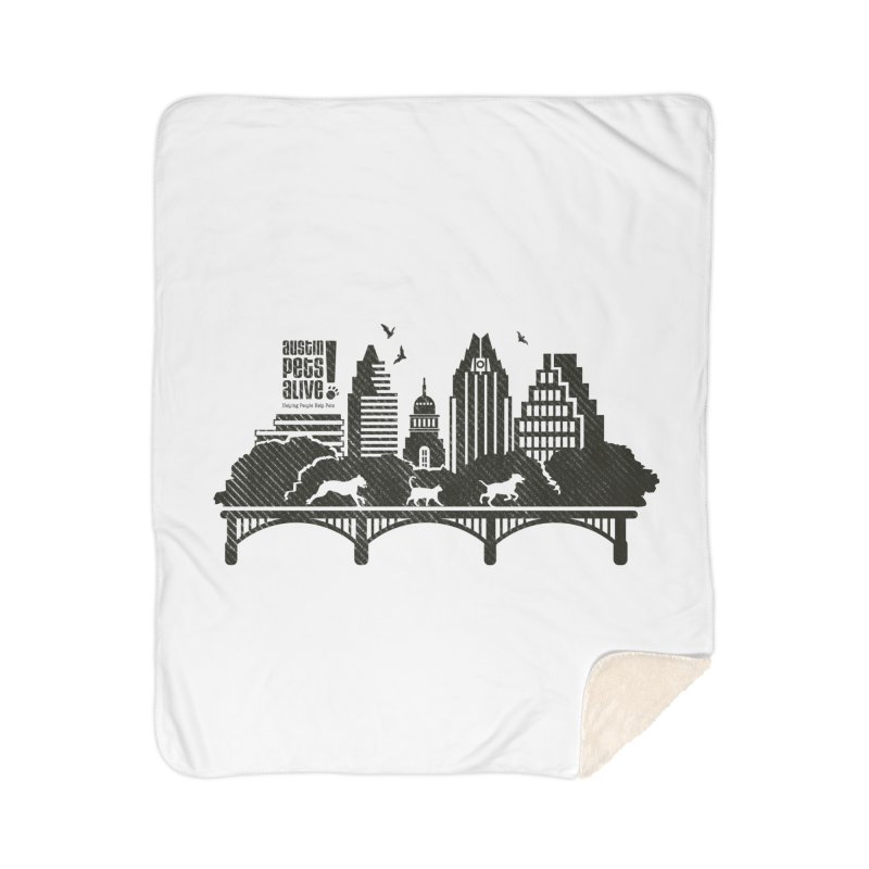 Pet Party on the Austin Skyline Home Sherpa Blanket Blanket by Austin Pets Alive's Artist Shop