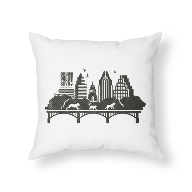 Pet Party on the Austin Skyline Home Throw Pillow by Austin Pets Alive's Artist Shop