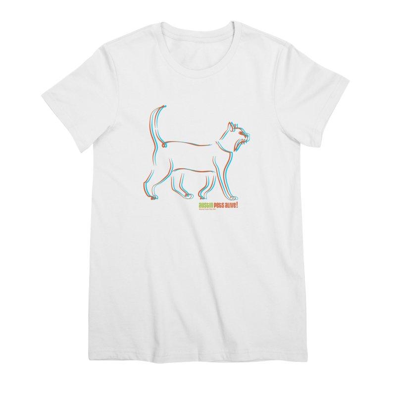 Totally Rad Contour Cat Women's Premium T-Shirt by Austin Pets Alive's Artist Shop