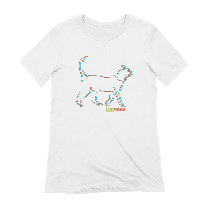 Totally Rad Contour Cat Women's Extra Soft T-Shirt by Austin Pets Alive's Artist Shop