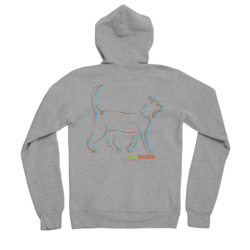 Totally Rad Contour Cat Men's Sponge Fleece Zip-Up Hoody by Austin Pets Alive's Artist Shop
