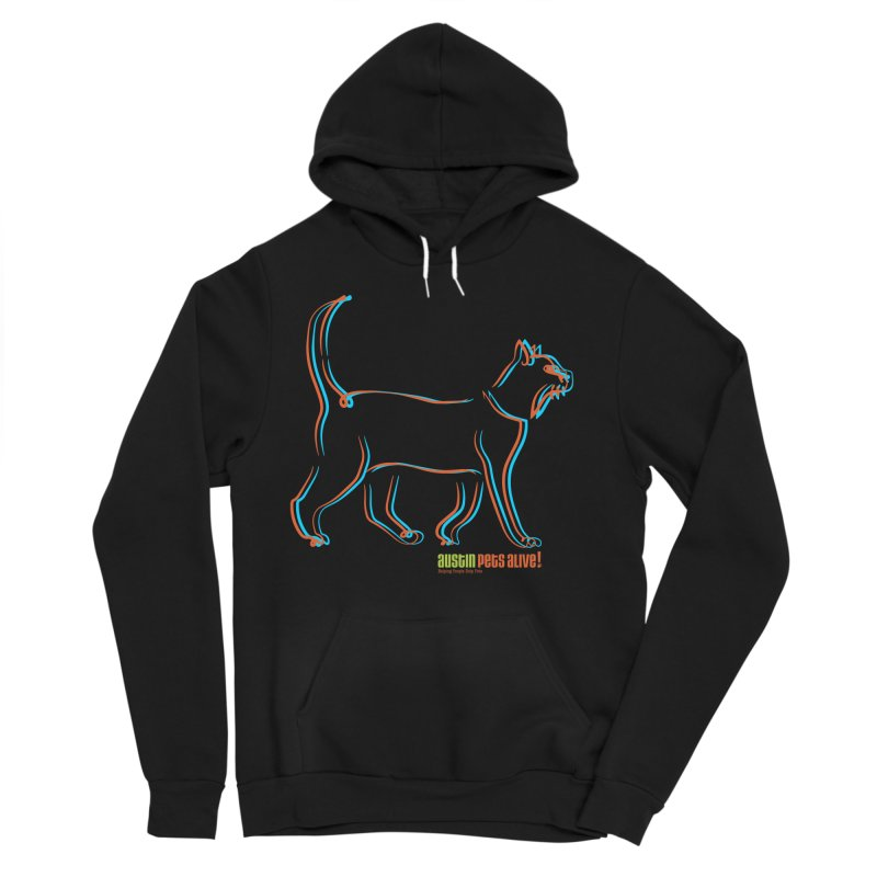 Totally Rad Contour Cat Men's Sponge Fleece Pullover Hoody by Austin Pets Alive's Artist Shop