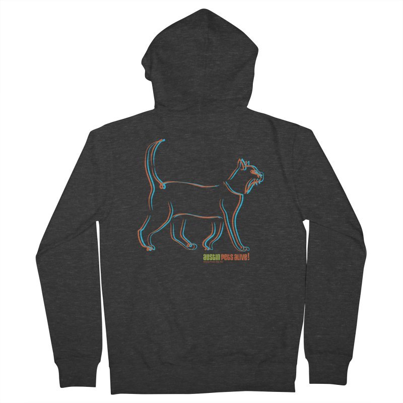 Totally Rad Contour Cat Men's French Terry Zip-Up Hoody by Austin Pets Alive's Artist Shop
