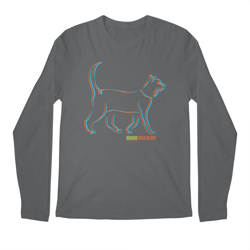 Totally Rad Contour Cat Men's Regular Longsleeve T-Shirt by Austin Pets Alive's Artist Shop