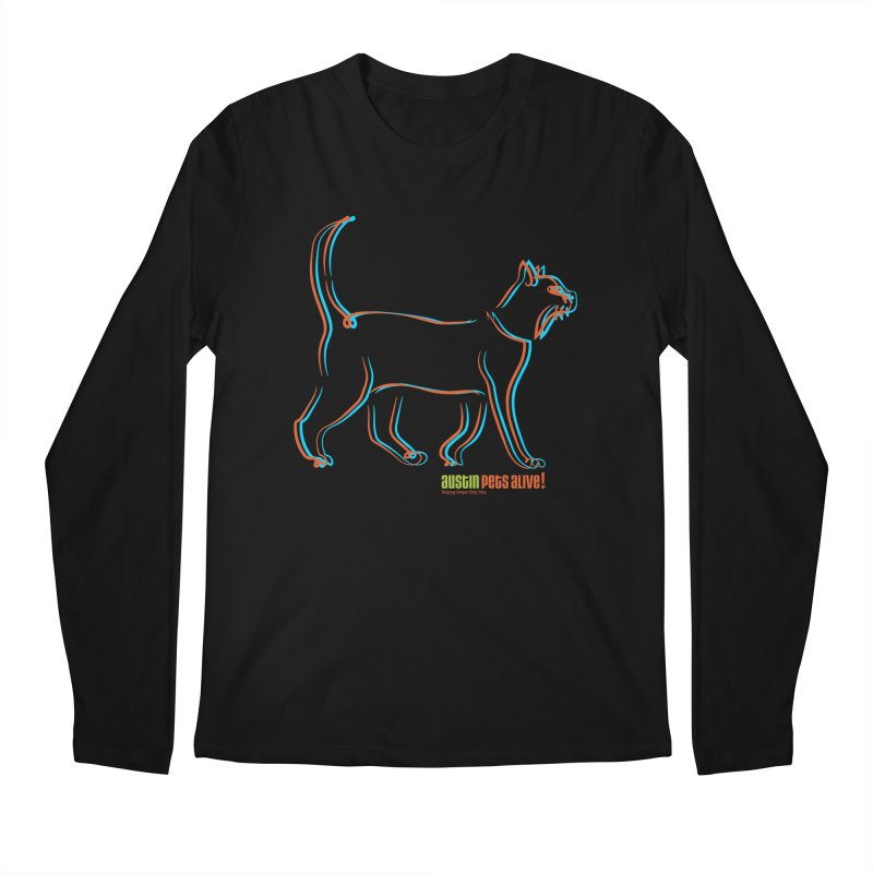 Totally Rad Contour Cat Men's Regular Longsleeve T-Shirt by Austin Pets Alive's Artist Shop