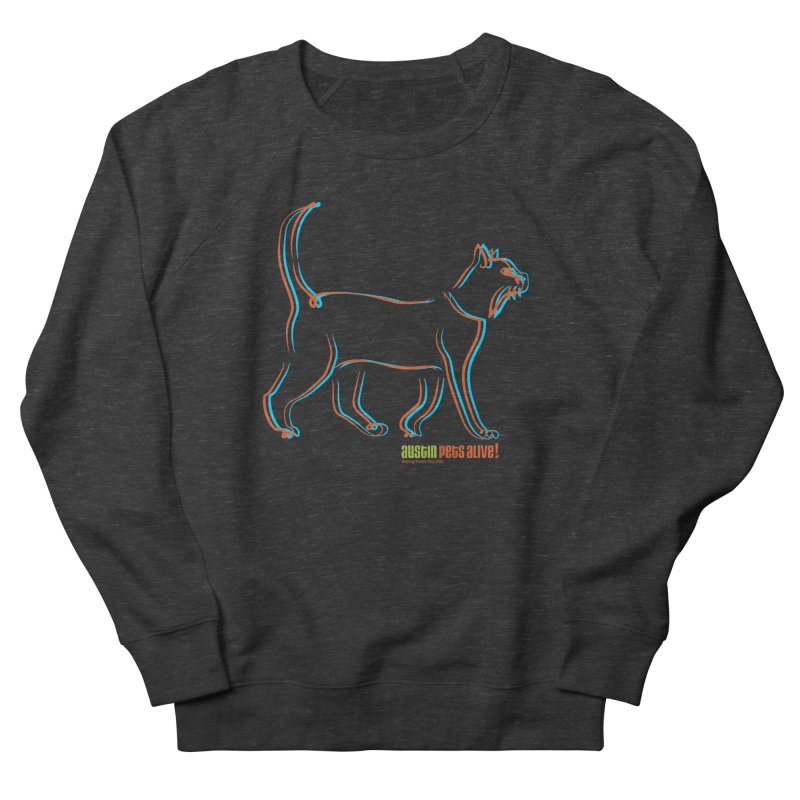 Totally Rad Contour Cat Men's French Terry Sweatshirt by Austin Pets Alive's Artist Shop