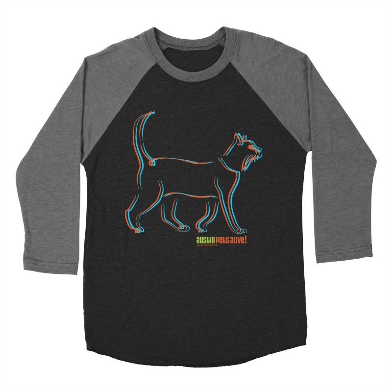 Totally Rad Contour Cat Women's Baseball Triblend Longsleeve T-Shirt by Austin Pets Alive's Artist Shop