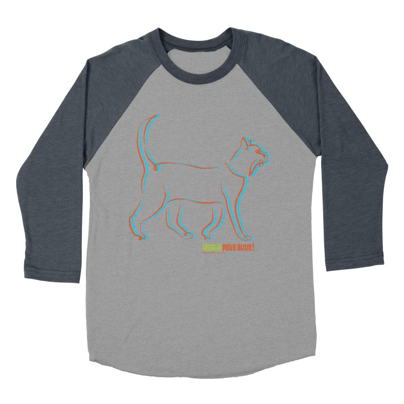 Totally Rad Contour Cat Women's Baseball Triblend Longsleeve T-Shirt by Austin Pets Alive's Artist Shop