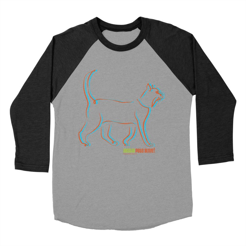 Totally Rad Contour Cat Men's Baseball Triblend Longsleeve T-Shirt by Austin Pets Alive's Artist Shop