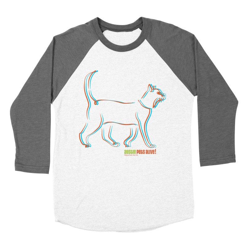 Totally Rad Contour Cat Men's Baseball Triblend Longsleeve T-Shirt by Austin Pets Alive's Artist Shop