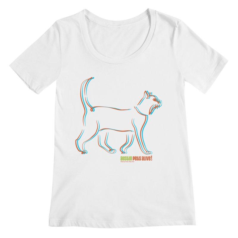 Totally Rad Contour Cat Women's Regular Scoop Neck by Austin Pets Alive's Artist Shop