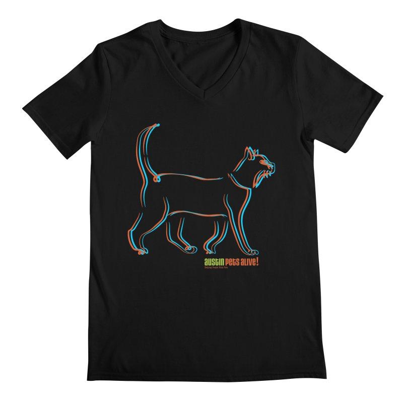 Totally Rad Contour Cat Men's Regular V-Neck by Austin Pets Alive's Artist Shop
