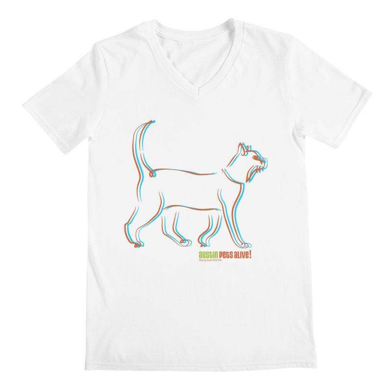 Totally Rad Contour Cat Men's V-Neck by Austin Pets Alive's Artist Shop