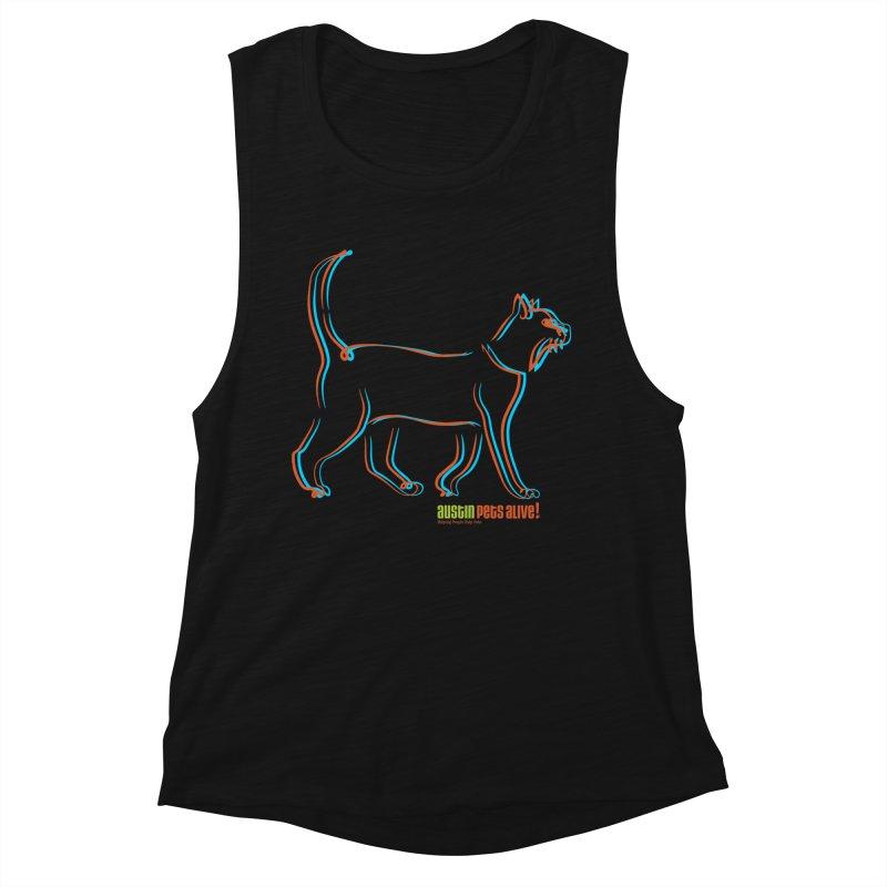 Totally Rad Contour Cat Women's Tank by Austin Pets Alive's Artist Shop