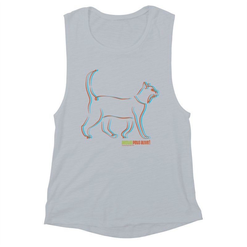 Totally Rad Contour Cat Women's Muscle Tank by Austin Pets Alive's Artist Shop