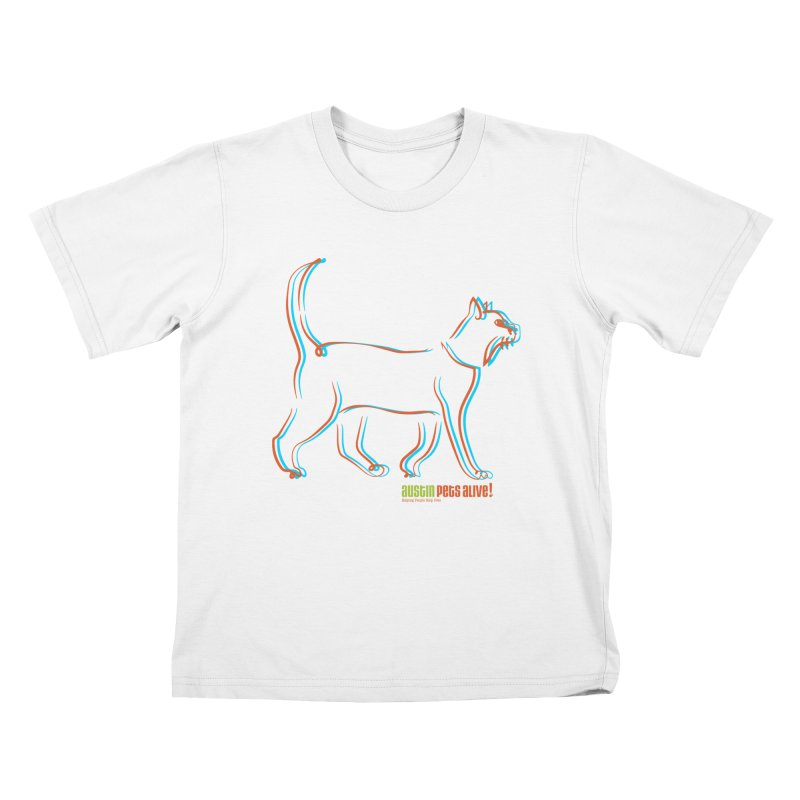 Totally Rad Contour Cat Kids T-Shirt by Austin Pets Alive's Artist Shop