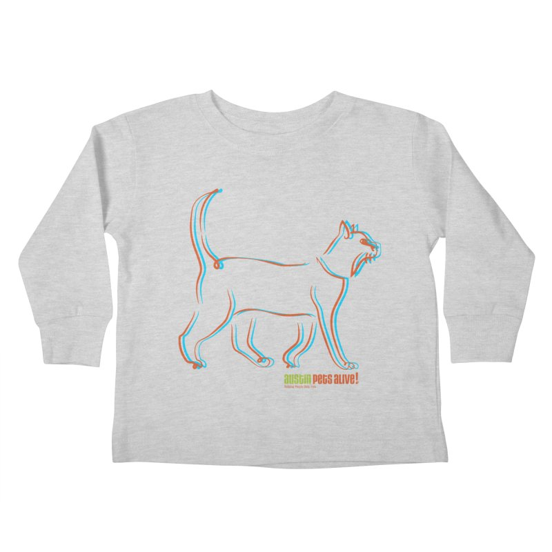 Totally Rad Contour Cat Kids Toddler Longsleeve T-Shirt by Austin Pets Alive's Artist Shop