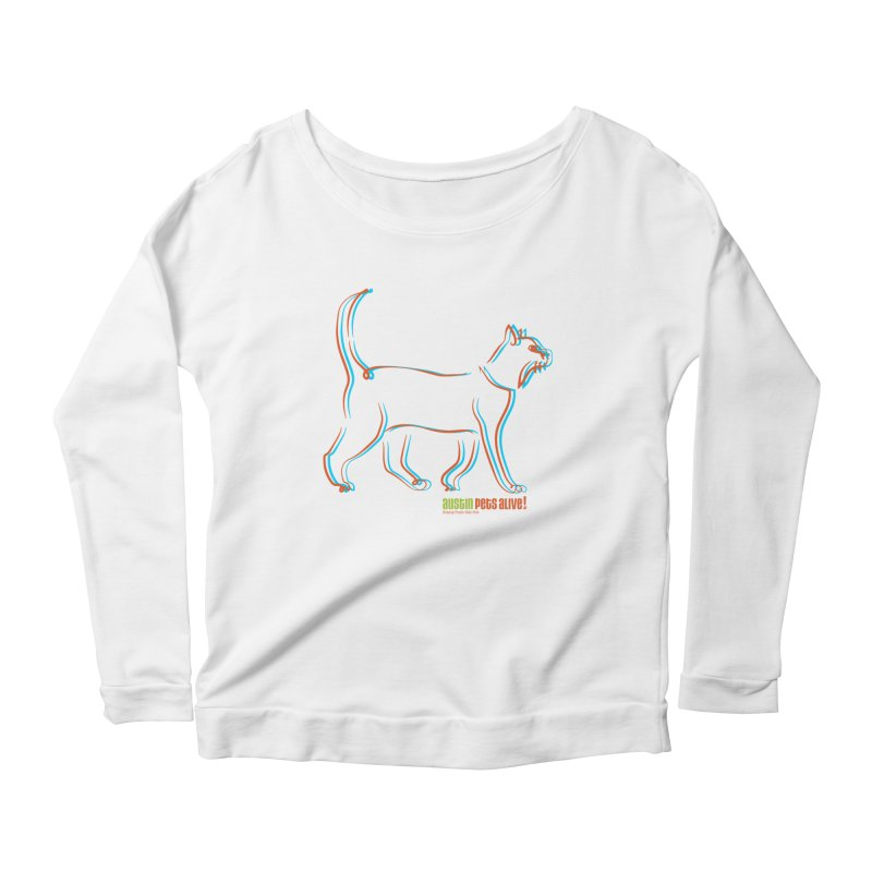 Totally Rad Contour Cat Women's Scoop Neck Longsleeve T-Shirt by Austin Pets Alive's Artist Shop