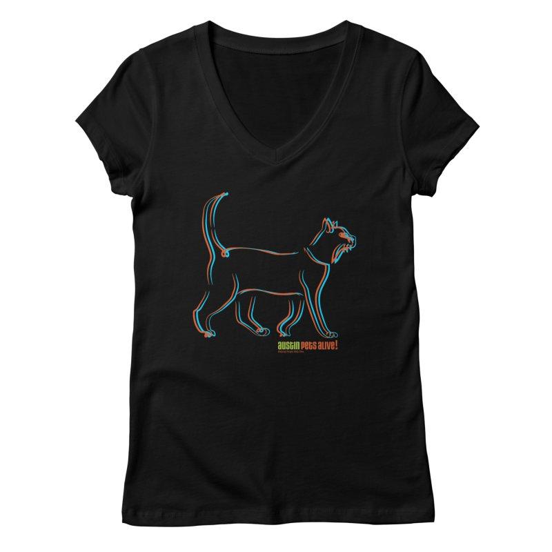 Totally Rad Contour Cat Women's Regular V-Neck by Austin Pets Alive's Artist Shop