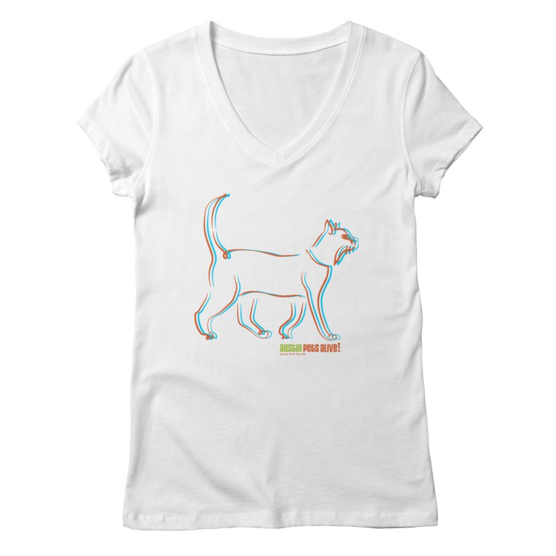 Totally Rad Contour Cat Women's Regular V-Neck by Austin Pets Alive's Artist Shop