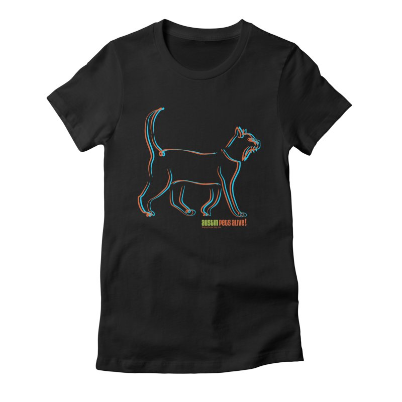 Totally Rad Contour Cat Women's T-Shirt by Austin Pets Alive's Artist Shop
