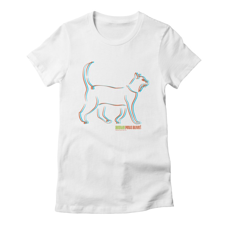 Totally Rad Contour Cat Women's Fitted T-Shirt by Austin Pets Alive's Artist Shop