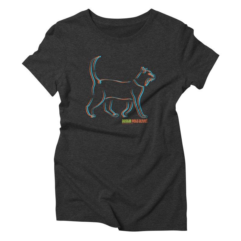 Totally Rad Contour Cat Women's Triblend T-Shirt by austinpetsalive's Artist Shop