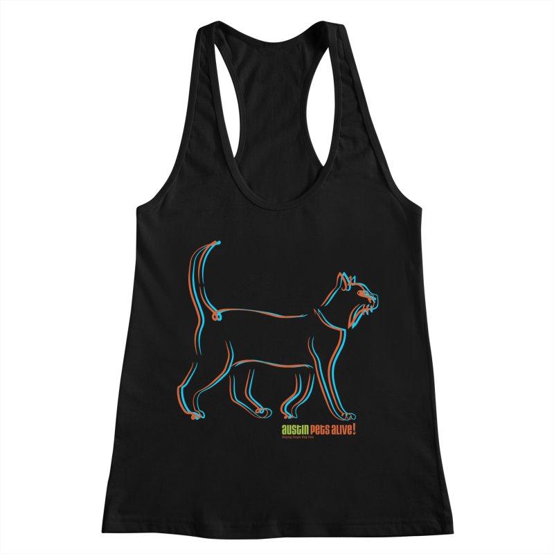 Totally Rad Contour Cat Women's Racerback Tank by Austin Pets Alive's Artist Shop