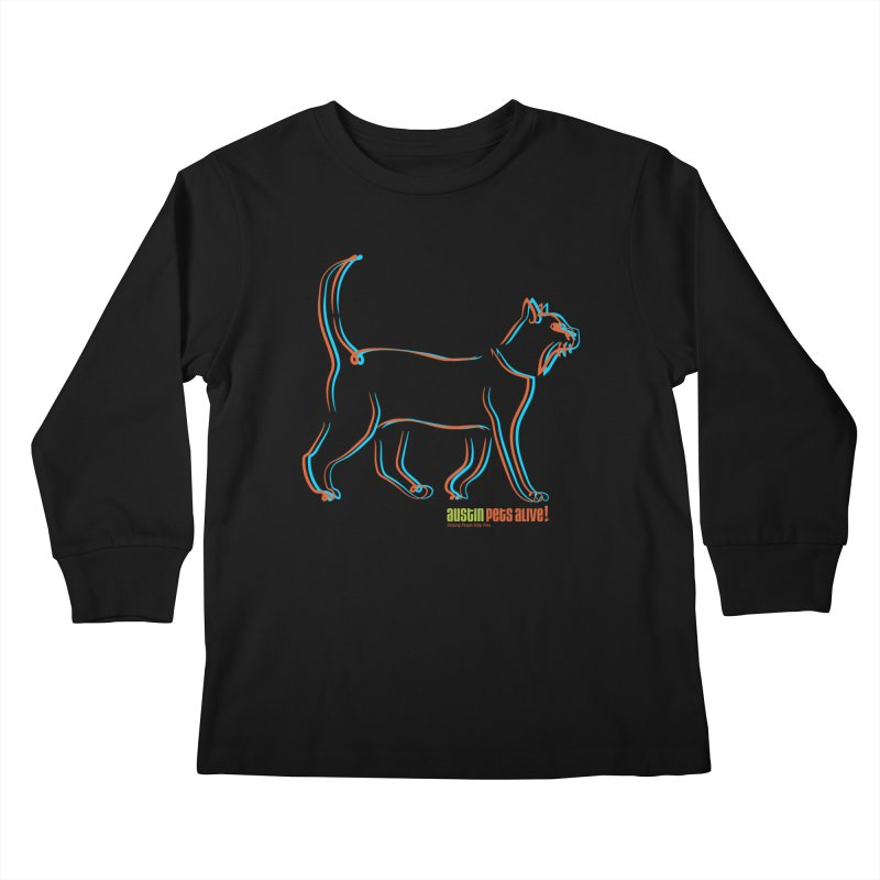 Totally Rad Contour Cat Kids Longsleeve T-Shirt by Austin Pets Alive's Artist Shop