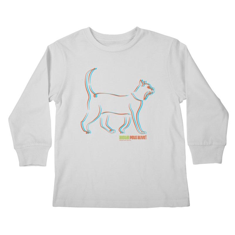 Totally Rad Contour Cat Kids Longsleeve T-Shirt by Austin Pets Alive's Artist Shop