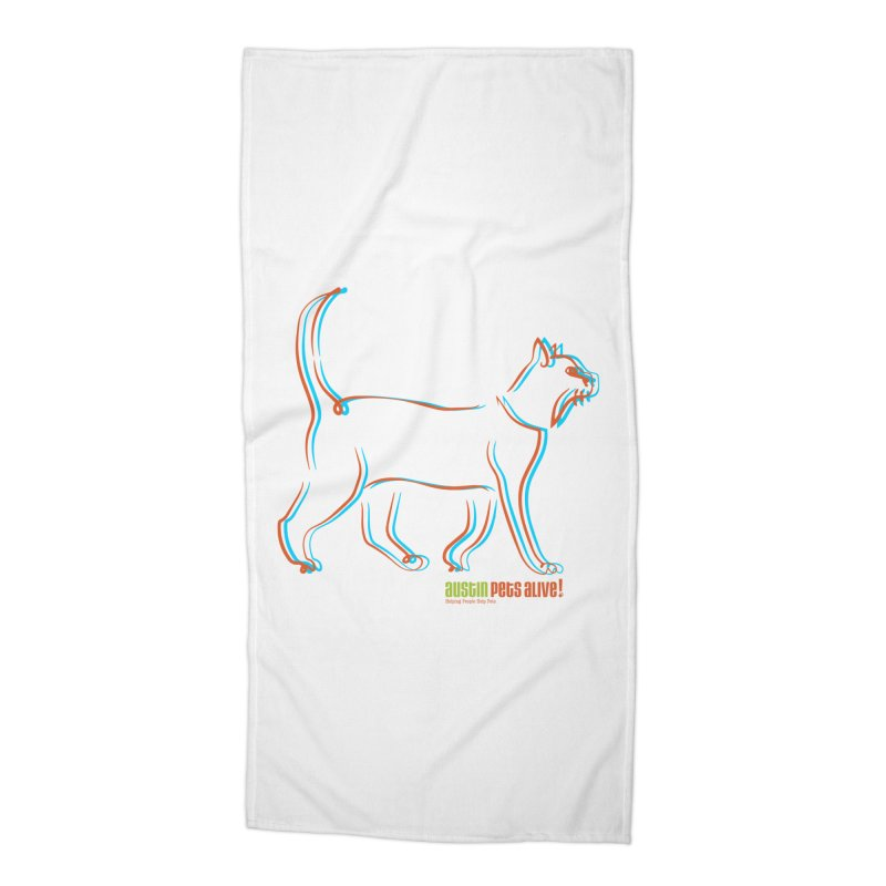 Totally Rad Contour Cat Accessories Beach Towel by Austin Pets Alive's Artist Shop