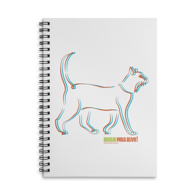 Totally Rad Contour Cat Accessories Lined Spiral Notebook by Austin Pets Alive's Artist Shop