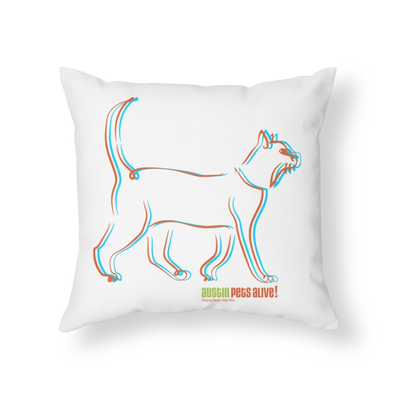 Totally Rad Contour Cat Home Throw Pillow by Austin Pets Alive's Artist Shop
