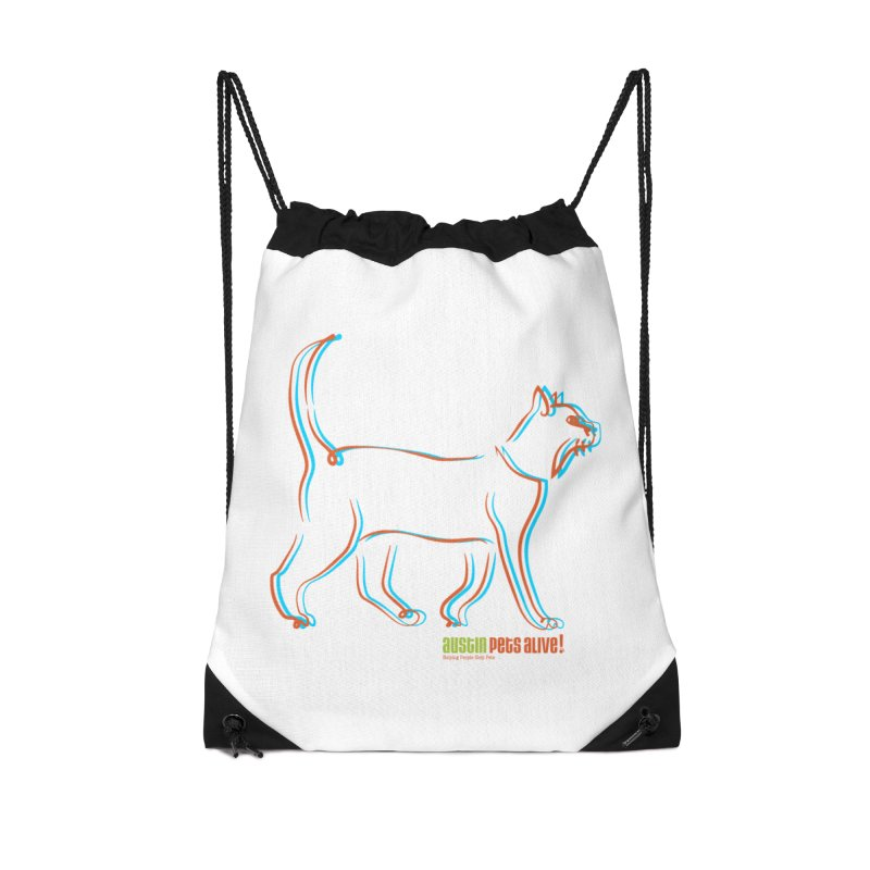 Totally Rad Contour Cat Accessories Drawstring Bag Bag by Austin Pets Alive's Artist Shop