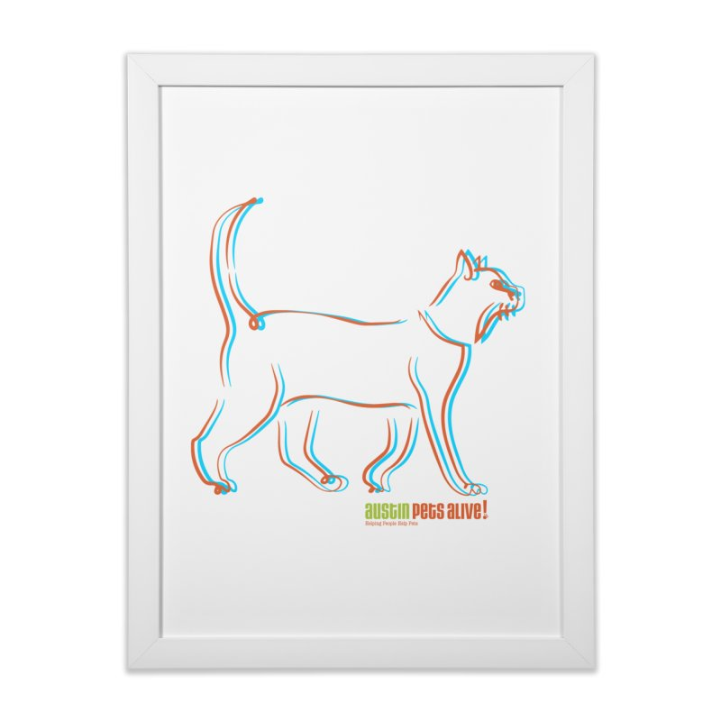 Totally Rad Contour Cat Home Framed Fine Art Print by Austin Pets Alive's Artist Shop