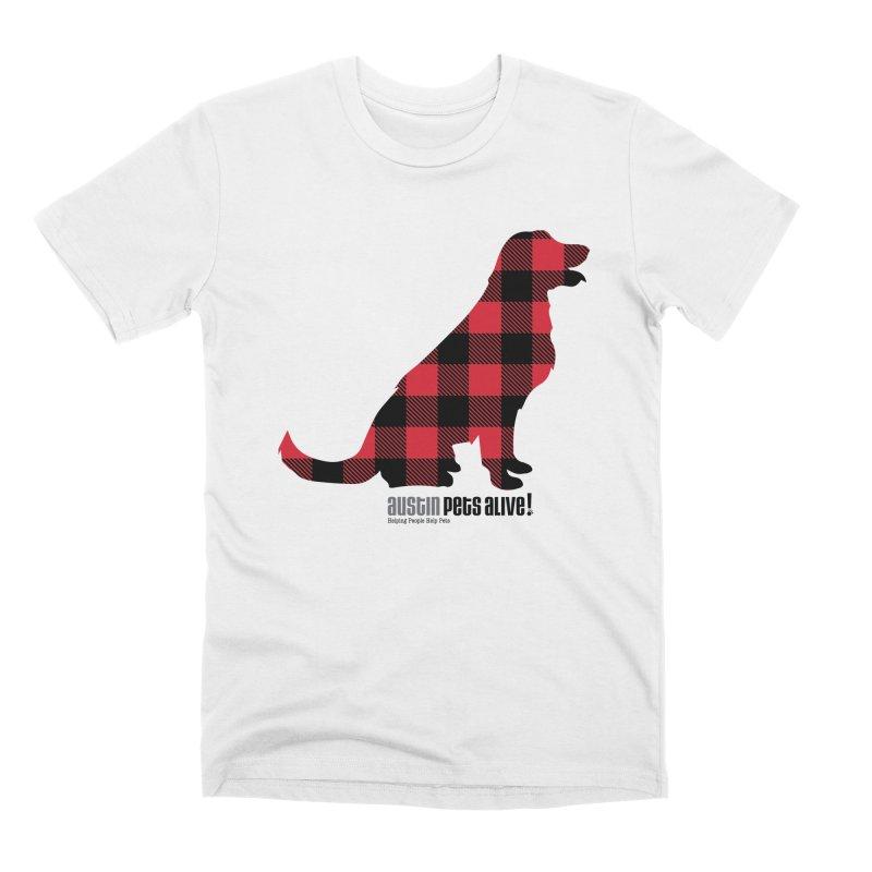 Dog in Plaid Men's Premium T-Shirt by austinpetsalive's Artist Shop