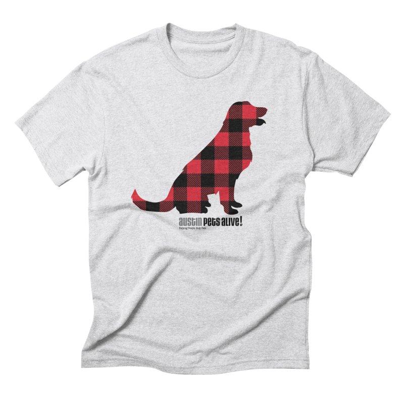 Dog in Plaid Men's Triblend T-Shirt by austinpetsalive's Artist Shop