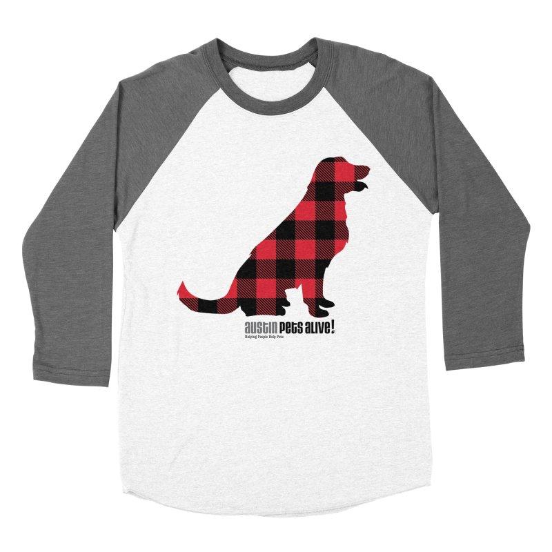 Dog in Plaid Men's Baseball Triblend Longsleeve T-Shirt by austinpetsalive's Artist Shop